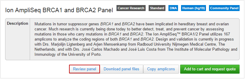 BRCA1 Panel with Review panel button