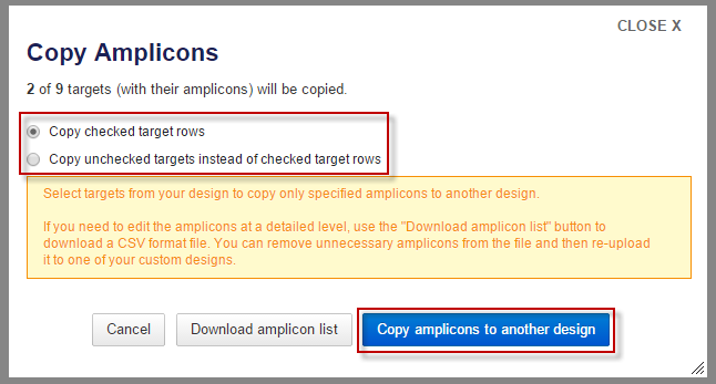 Copy Amplicons dialog first step