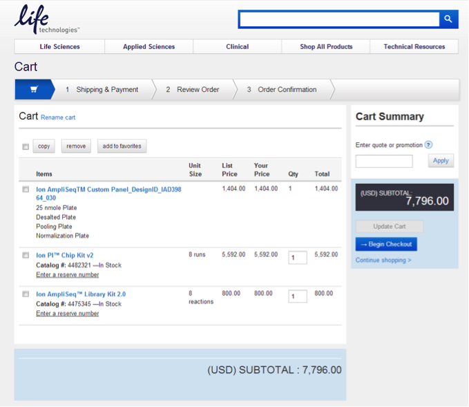 Screenshot of the Thermo Fisher shopping cart